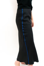 Load image into Gallery viewer, BAZ INC. - Black Silk Bias Skirt with Contrast Blue piping - Australian Fashion and Accessories Boutique - Faid Store