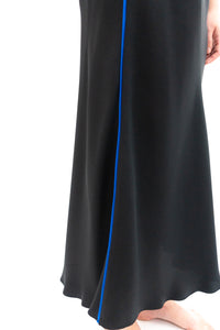 BAZ INC. - Black Silk Bias Skirt with Contrast Blue piping - Australian Fashion and Accessories Boutique - Faid Store