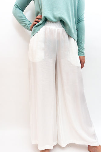 BAZ INC. - White Wide Leg Trouser - Australian Fashion and Accessories Boutique - Faid Store