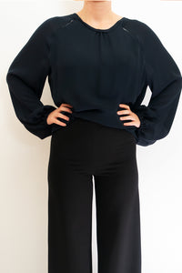 BAZ INC. - Navy Blue Blouse - Australian Fashion and Accessories Boutique - Faid Store