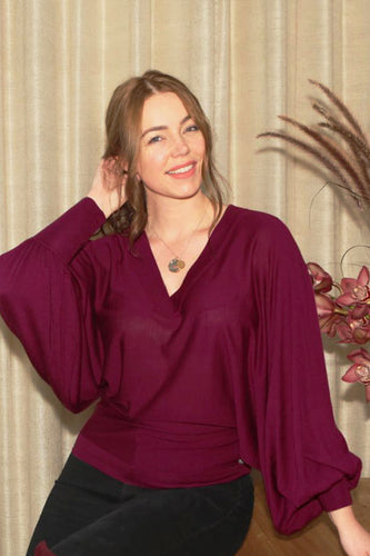 EVERYDAY CASHMERE - Cocktail Top (Plum)