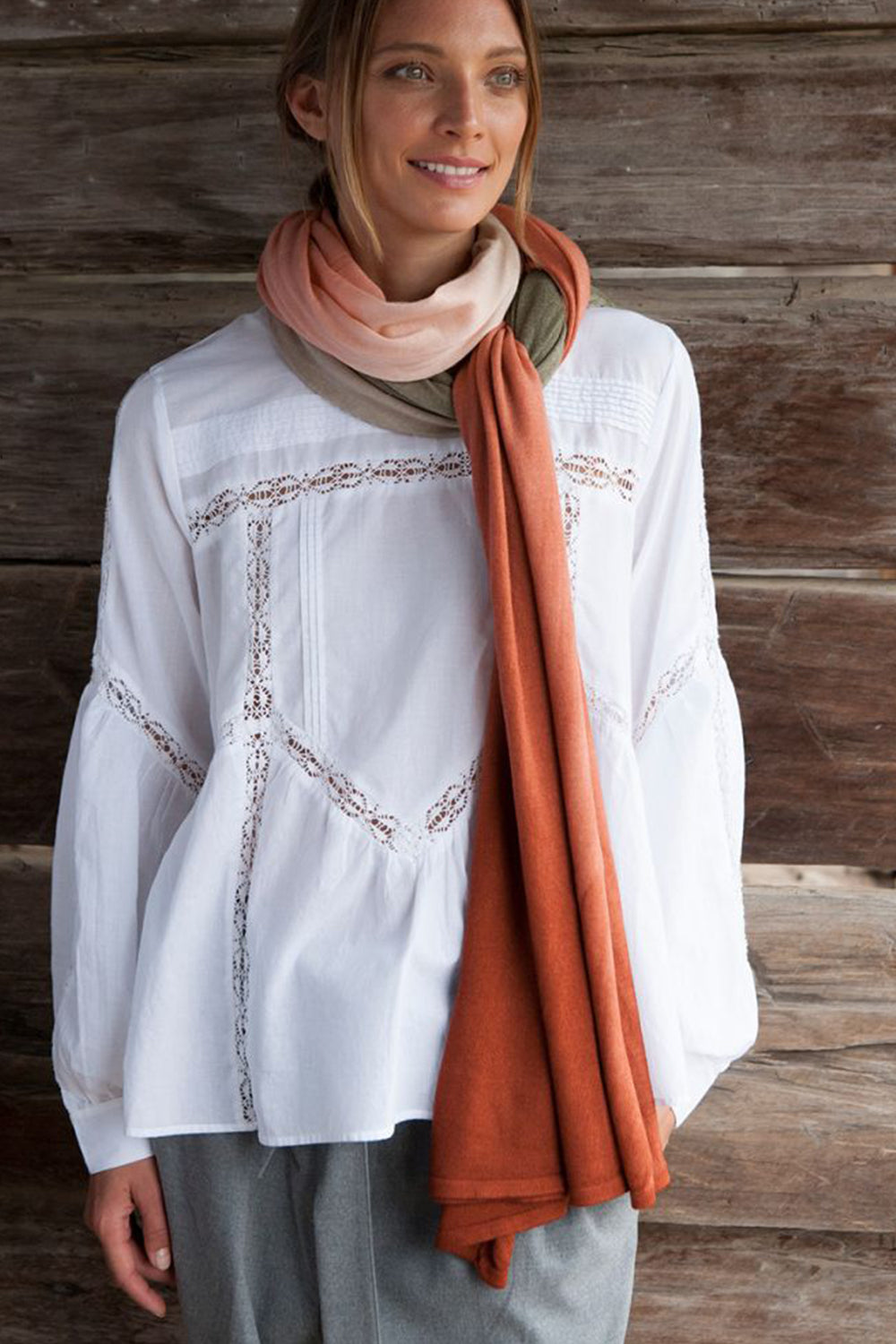 EVERYDAY CASHMERE - Burnt Orange Obre Wrap