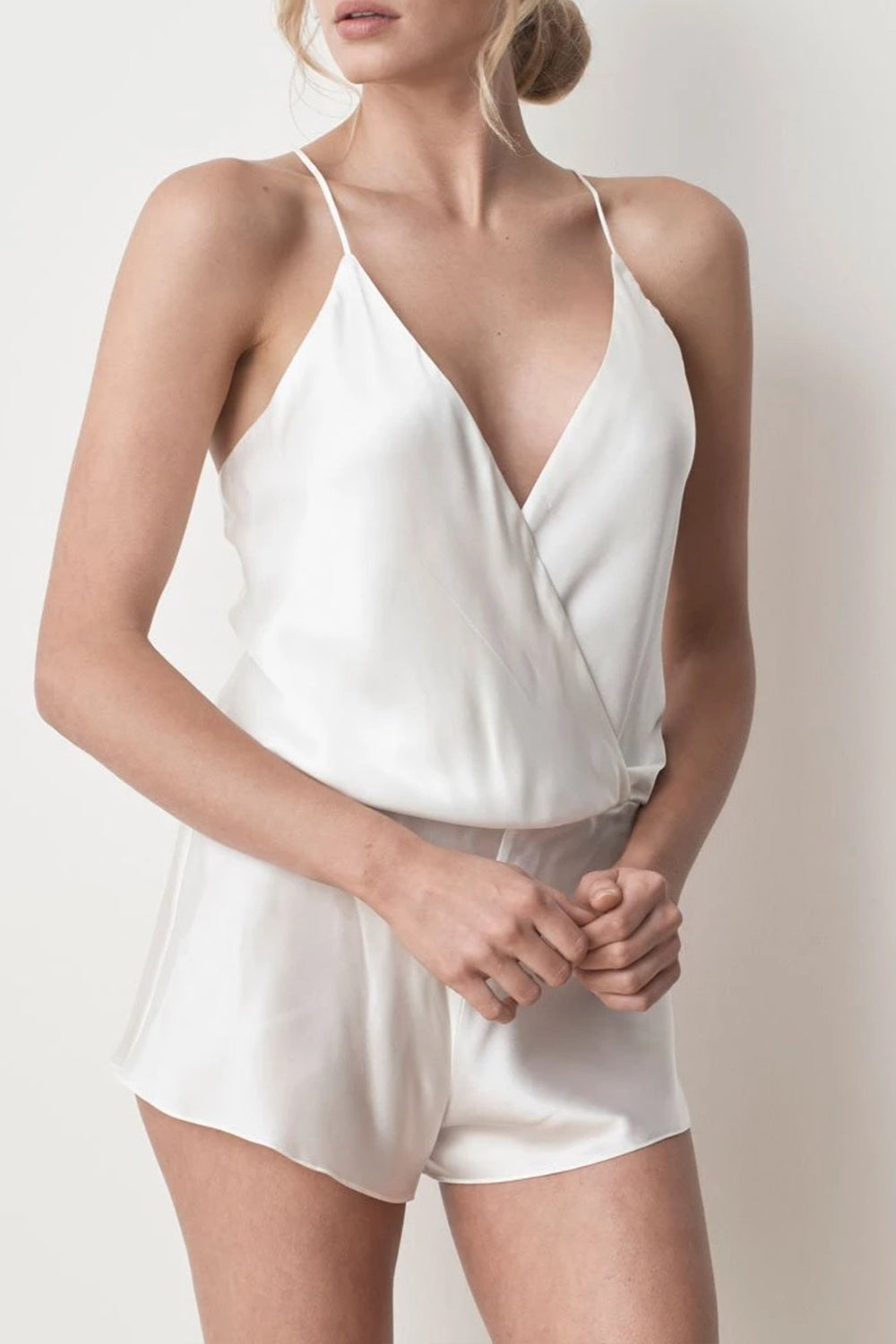 MS KENSINGTON - Silk Playsuit - Ivory White - Australian Fashion and Accessories Boutique - Faid Store