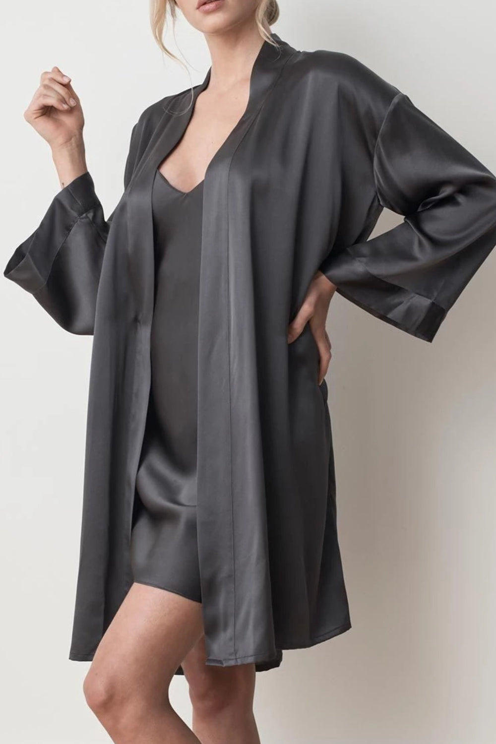 MS KENSINGTON - Silk Robe - Charcoal - Australian Fashion and Accessories Boutique - Faid Store