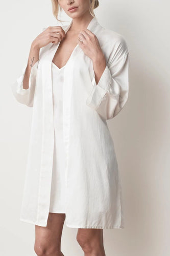 MS KENSINGTON - Silk Robe - Ivory White - Australian Fashion and Accessories Boutique - Faid Store
