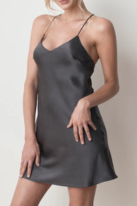 MS KENSINGTON - Silk Slip Dress - Charcoal - Australian Fashion and Accessories Boutique - Faid Store