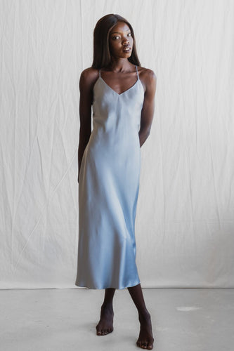 MS KENSINGTON - Midi Silk Slip - Sydney Blue - Australian Fashion and Accessories Boutique - Faid Store