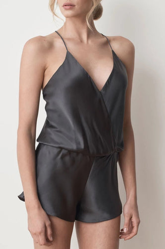 MS KENSINGTON - Silk Playsuit - Charcoal - Australian Fashion and Accessories Boutique - Faid Store