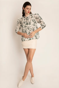 PALMA MARTÎN- Unsheathed Pleated Blouse (Garden Floral) - Australian Fashion and Accessories Boutique - Faid Store
