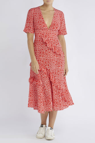 RAE26 - Farrah Dress (Peach Silhouette Floral) - Australian Fashion and Accessories Boutique - Faid Store