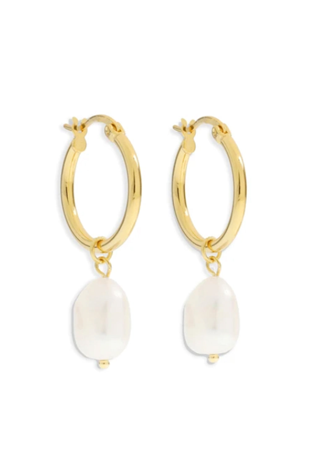 ARMS OF EVE - Augusta Gold Hoop & Freshwater Pearl Earrings - Small - Australian Fashion and Accessories Boutique - Faid Store