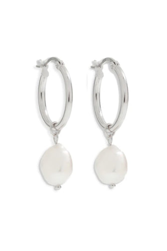 ARMS OF EVE - Augusta Silver Hoop & Freshwater Pearl Earrings - Small - Australian Fashion and Accessories Boutique - Faid Store