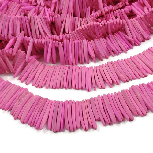 Pink Wood Stick Beads - coconut indian stick 1 1/8 inch - full strand