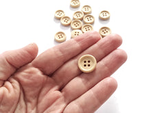 Load image into Gallery viewer, Wooden button - Natural 4 Holes Wood Sewing Buttons 15mm - set of 15 or 60