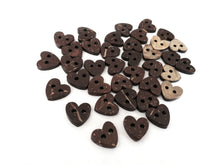 Load image into Gallery viewer, Brown Coconut Shell Buttons 10mm -  Heart shape
