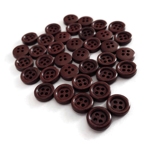 Mini Wood button - Brown 4 Holes Wooden Sewing Buttons 11mm - set of 36