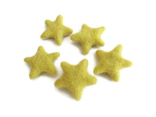 Load image into Gallery viewer, Felt Yellow Stars - Pure Wool felt stars 35-45mm felt stars