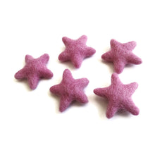 Load image into Gallery viewer, Felt Pink Stars - Pure Wool felt stars 35-45mm felt stars