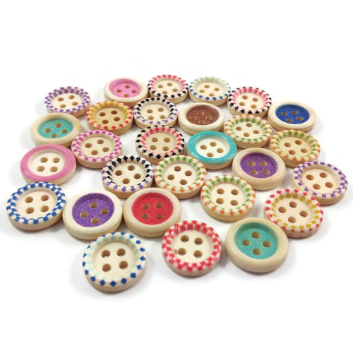 Wood sewing buttons 15mm -  25 Mixed Colors Buttons