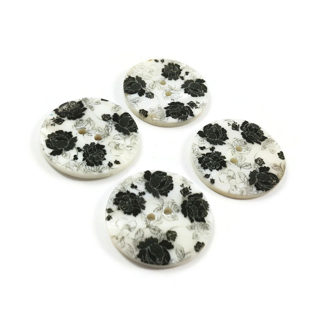 Flower buttons - Mother of Pearl Shell Buttons 30mm - set of 4 eco friendly natural buttons