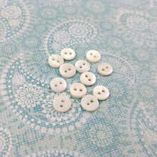 Load image into Gallery viewer, Mother of Pearl Buttons - 7mm buttons - set of 10 pearl buttons - white buttons 7mm - tiny buttons - sea shell buttons
