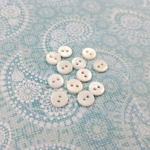 Mother of Pearl Buttons - 7mm buttons - set of 10 pearl buttons - white buttons 7mm - tiny buttons - sea shell buttons