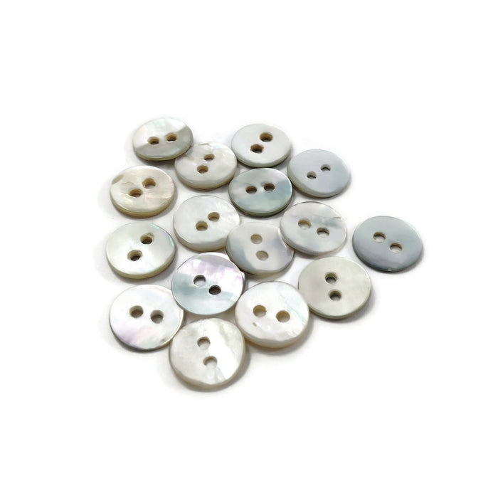 Mother of Pearl Shell Buttons 10mm - set of 12 eco friendly natural buttons