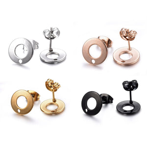 Stainless steel Earring post hypoallergenic 10mm ring 10pcs (5 pairs) - Rose gold, gold, silver or black
