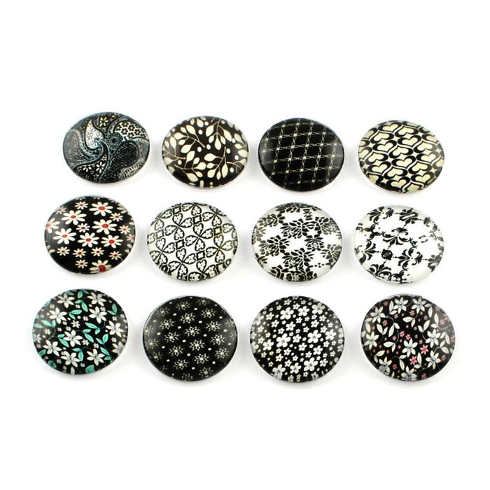 Mixed black floral glass cabochons - set of 20 round dome cabochons - 12mm