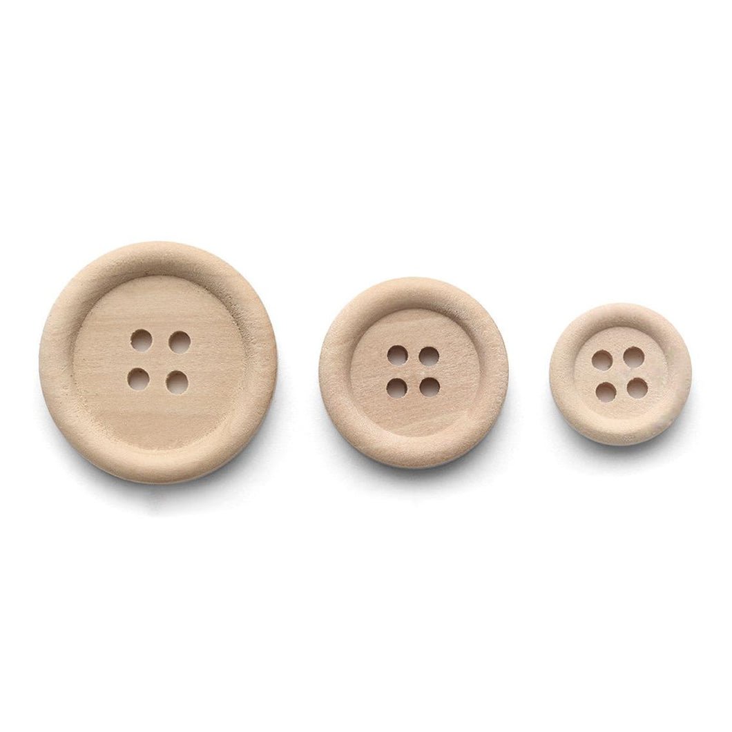 12 Natural unfinished wood buttons 15, 20 or 25mm