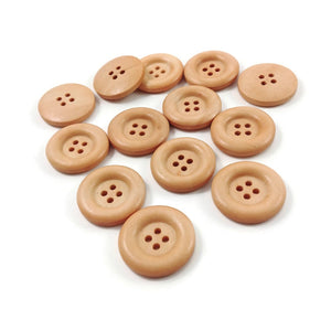 6 champagne wooden buttons 23mm