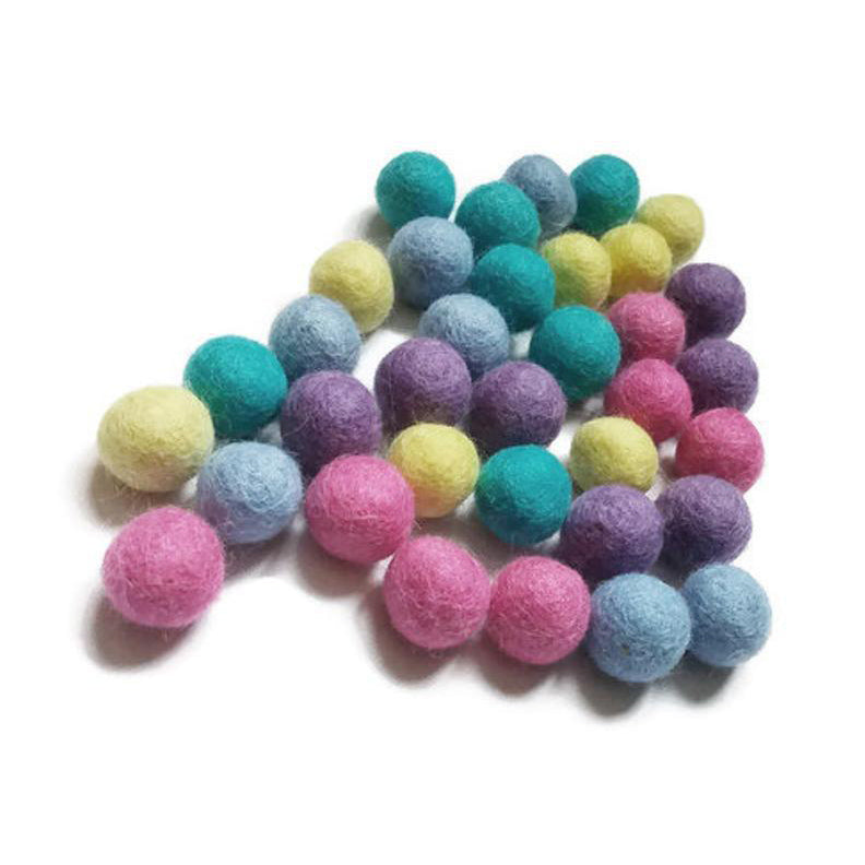 Felted balls 2cm - Easter colors mix - 35 pure wool beads