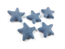 Load image into Gallery viewer, Felt Blue Stars - Pure Wool felt stars 35mm felt stars