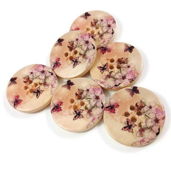 Butterfly and Flower Pattern Wooden Sewing Button 30mm - set of 6 wood buttons