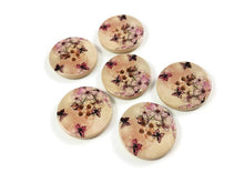Load image into Gallery viewer, Butterfly and Flower Pattern Wooden Sewing Button 30mm - set of 6 wood buttons