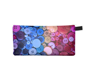 Pink and blue buttons Pencil Case - Free shipping USA and Canada