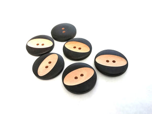 Carved Wooden Sewing Buttons 30mm - set of 6 wood buttons
