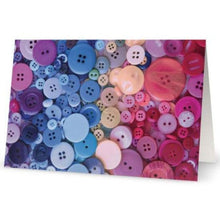 Load image into Gallery viewer, Pink and Blue Buttons greeting card - Blank notecard for Sewing Lovers