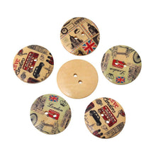Load image into Gallery viewer, London wood sewing buttons - 5 Mixed Patterns scrapbooking buttons