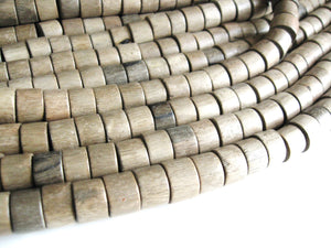 10 Large Taupe Wooden Beads - Wheels Greywood Beads 10x15mm