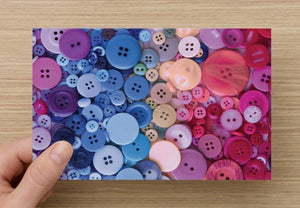 Pink and Blue Buttons greeting card - Blank notecard for Sewing Lovers