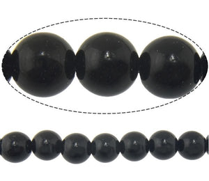 Natural Black Stone Beads Round 4 or 6mm