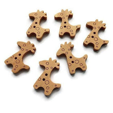 Load image into Gallery viewer, Giraffe Wooden Buttons Set of 6
