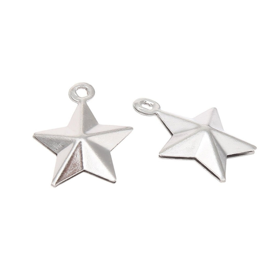 5 Star pendant stainless steel 15mm 3D charms