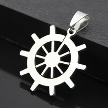 Load image into Gallery viewer, Ship wheel pendant stainless steel hypoallergenic DIY necklace pendant