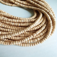Load image into Gallery viewer, 120 natural coconut beads - Coconut Rondelle Disk Beads 4-5mm