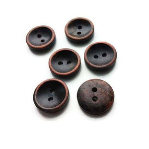 Brown Button 15mm - set of 6 wood buttons
