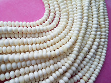 Load image into Gallery viewer, White bone beads, 15 bone rondelle beads 10mm, eco friendly and natural bone beads