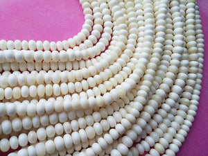 White bone beads, 15 bone rondelle beads 10mm, eco friendly and natural bone beads