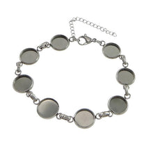 Load image into Gallery viewer, Stainless Steel Bracelet with 10mm cameo settings - 1 x Cabochon bracelet blank bezel with Extender